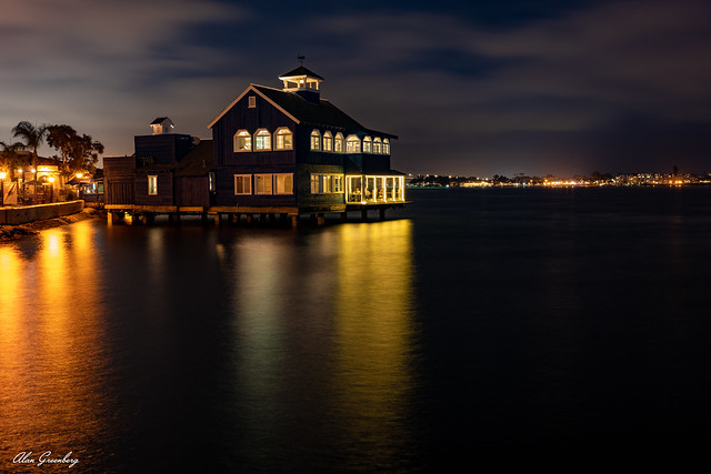 Overlooking the bay at night