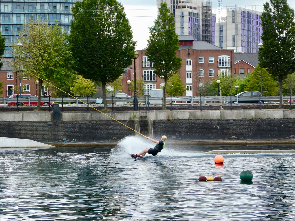 Cable skiing at Salford Quays