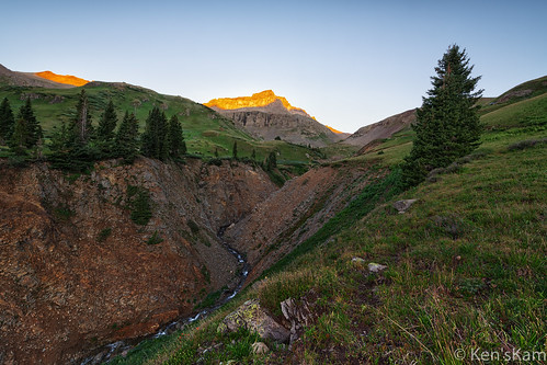 colorado unitedstatesofamerica mountains sunrise stream canyon mountainside ouray mountainstream yankeeboybasin nikond850 kenstravelphotocom