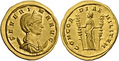 An Excessively Rare and Exceptional Roman Gold Aureus of Severina, Wife of Aurelian
