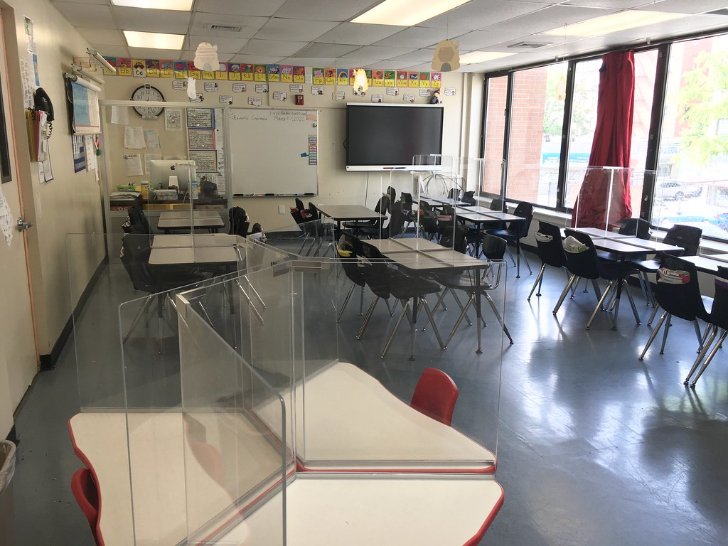 Model classroom with student desk partitions #1