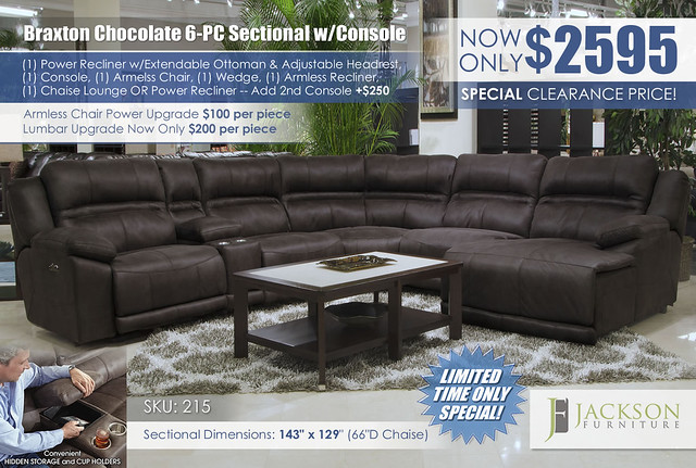 Braxton Chocolate 6PC Sectional_215_Catnapper_Jackson