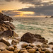 Sunset at Porth Nanven (Cot Valley Beach), St Just, Cornwall, South West England