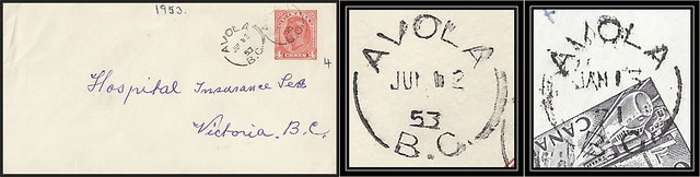 British Columbia / B.C. Postal History - 12 July 1953 / 13 January 1971 - AVOLA, B.C. (split ring / broken circle cancel / postmark) to Victoria, B.C. (1928 / hammer No. 2)