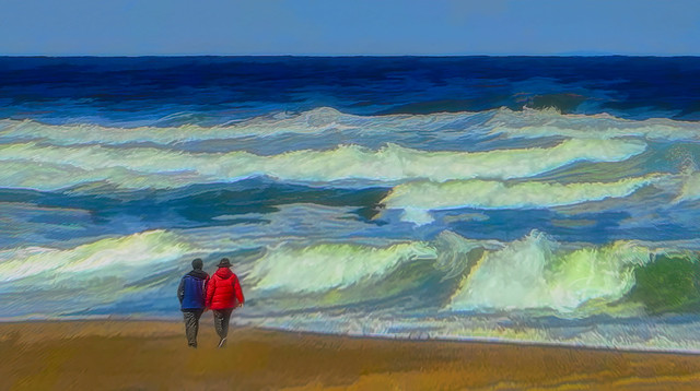 Walking the Winter Beach