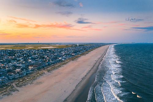 aerial drone djimavic2pro dji ocnj sunset travel travelphotography newjersey vacation beach beachscape seascape atlantic ocean eastcoast
