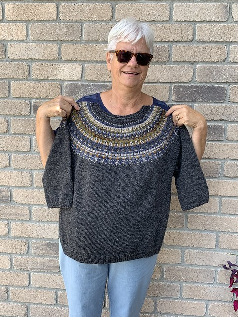 Angela finished the Lunenburg Pullover by Amy Christoffers! Knit using Lichen and Lace Rustic Heather Sport