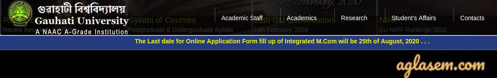 Gauhati University PG Application Form 2020 - Last Date to Apply for Integrated M.Com Extended