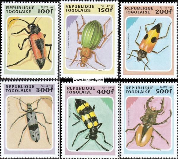 Známky Togo 1996 Chrobáky neraz. séria MNH