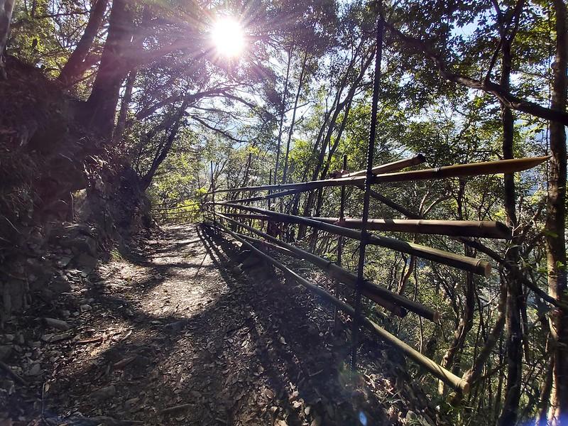 Smangus- morining sun shining on the relaxing trail