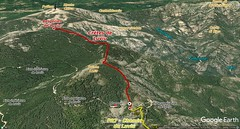 Photo 3D du secteur des Crêtes de Luviu entre le réservoir et les bergeries avec la fin du tracé du Chemin de Luviu (PR7) et la reconnaissance d'un futur sentier des Crêtes de Luviu
