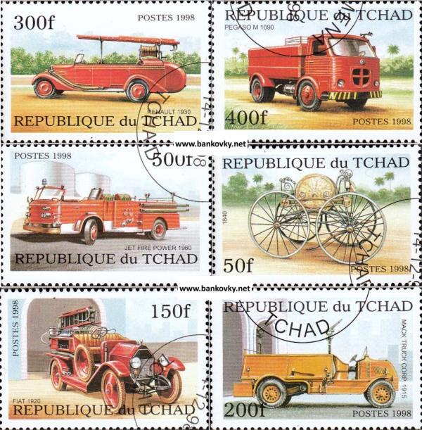 Známky Čad 1998 Hasičské automobily razítkovaná séria