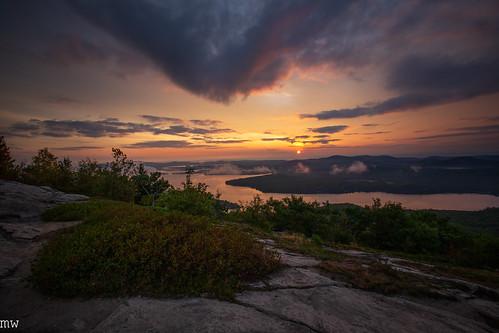 mount major sunrise hiking landscape nature mountain clouds lake winnipesaukee