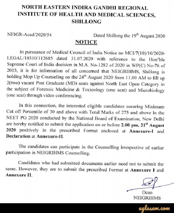 NEIGRIHMS PG Medical College Admission 2020 - Mop up Round Counselling Notice
