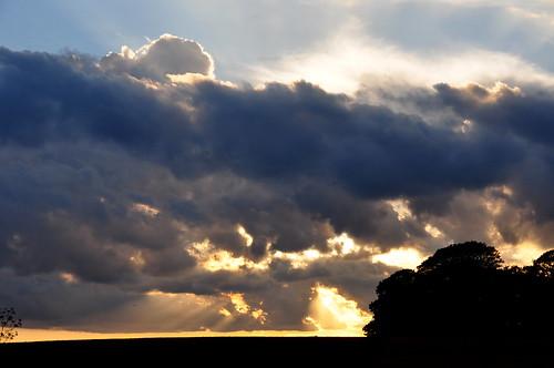 sky evening clouds cloudyskies countryside crepuscularrays rays sun sunset