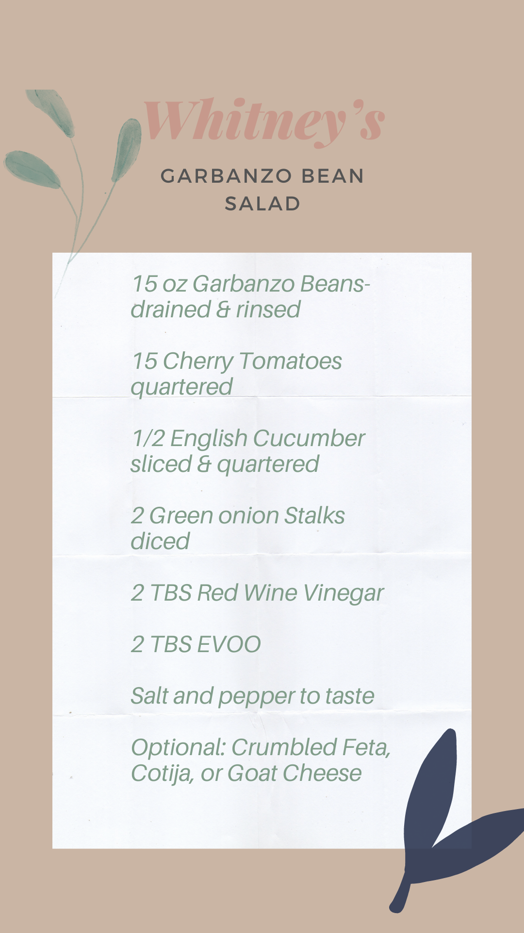 Garbanzo bean salad // flavors of the season {family recipe} on Work it Mommy blog