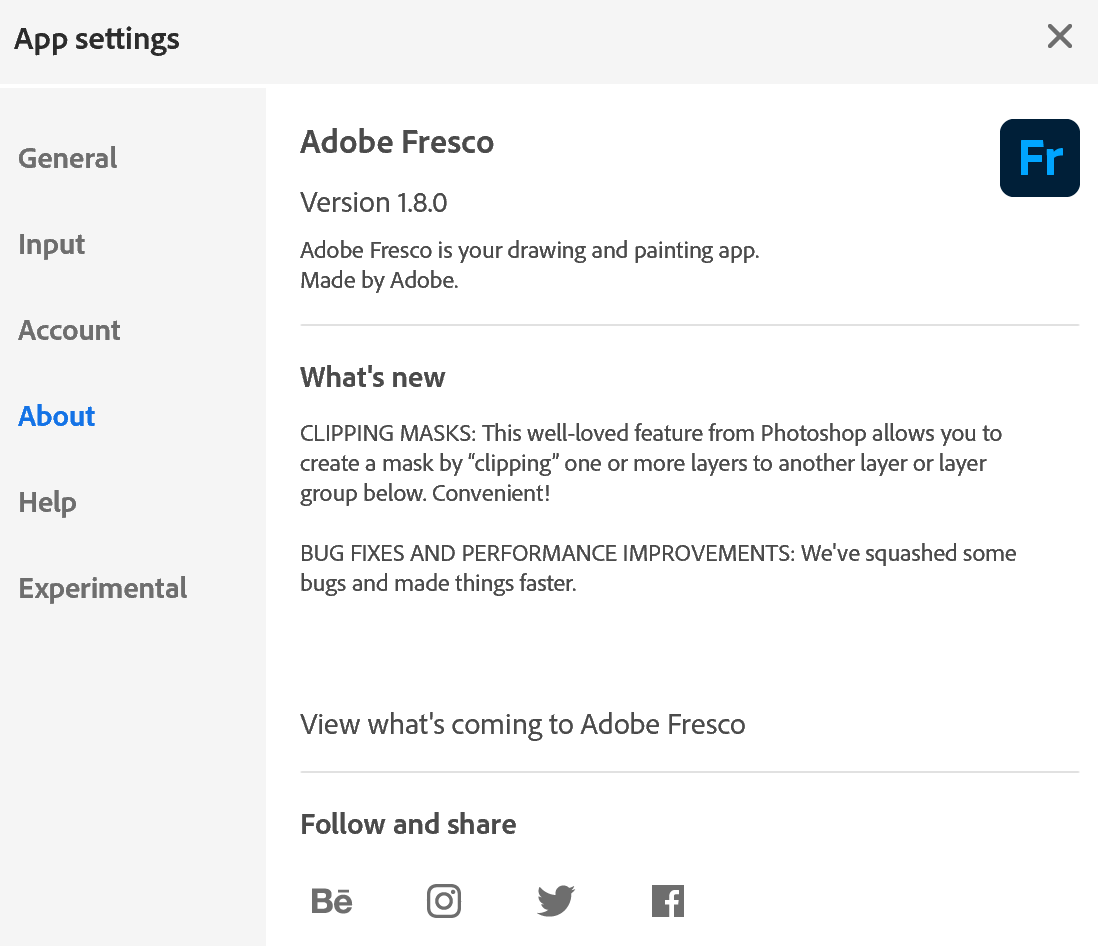 Adobe Fresco 1.8.1.205 setting