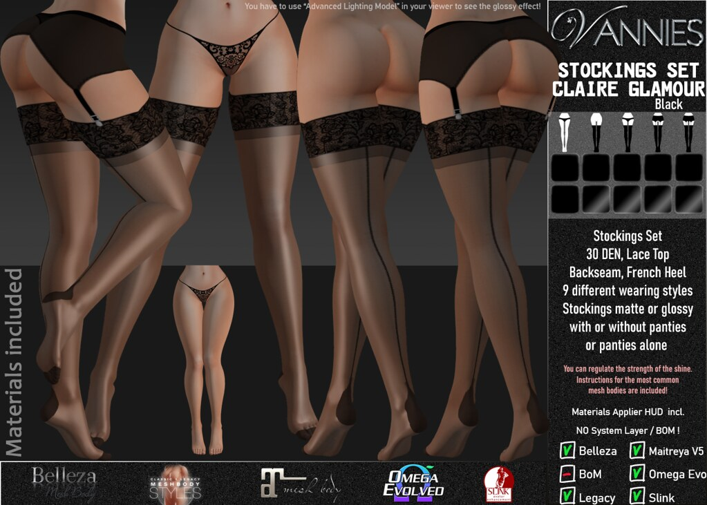 VANNIES Stocking Set Claire / black