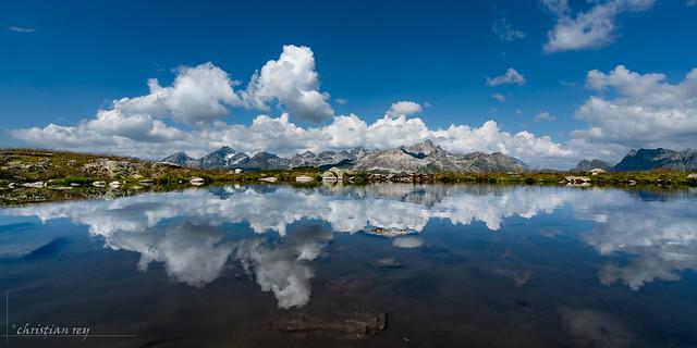 Panorama and reflection from Muottas Muragl (Switzerland)