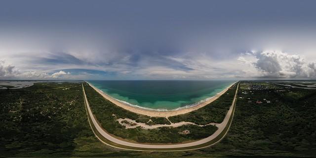 Treasure Coast  beach aerial panoramic