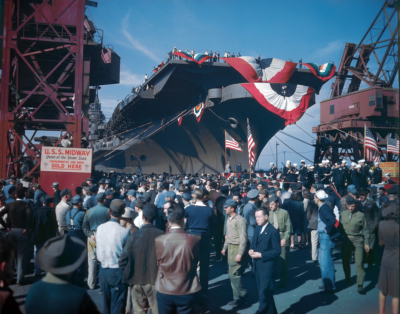 The USS Midway (CVB-41) launching