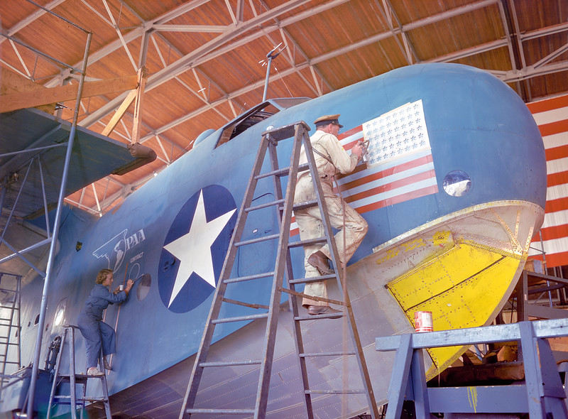 A Martin PBM-3R receives dual Navy and Pan American Airways markings