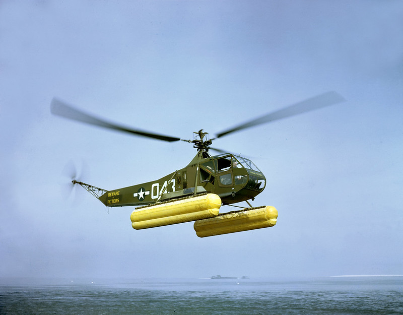 U.S. Coast Guard demonstrates air-sea rescue with a Sikorsky HNS-1