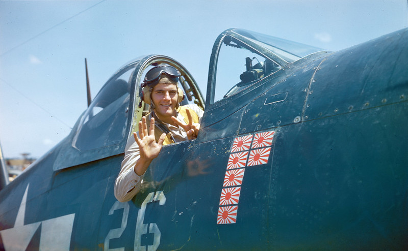 1st Lt. Jeremiah O'Keefe in his F4U Corsair