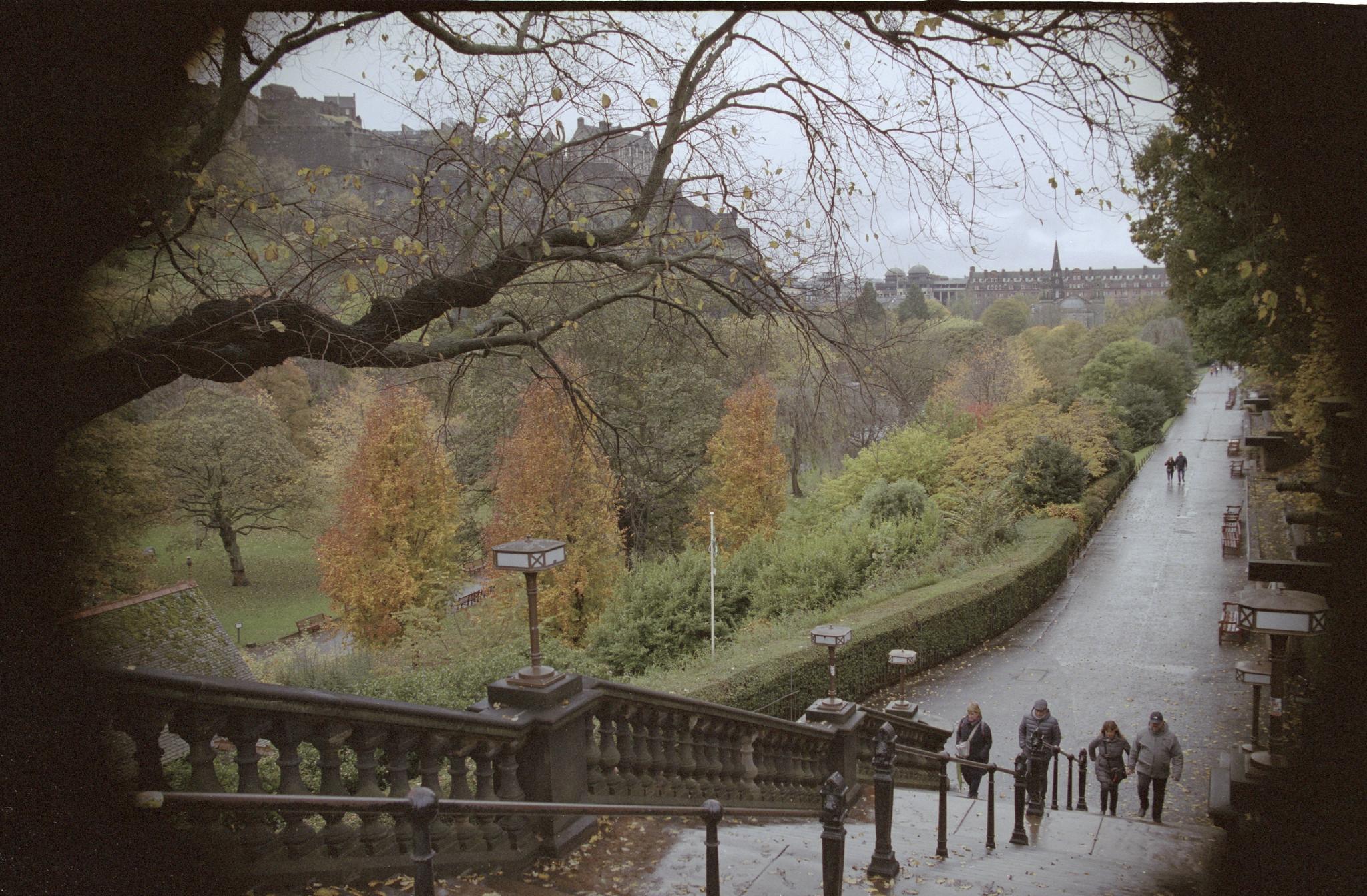 Walking down into a park in Edinburgh Scotland