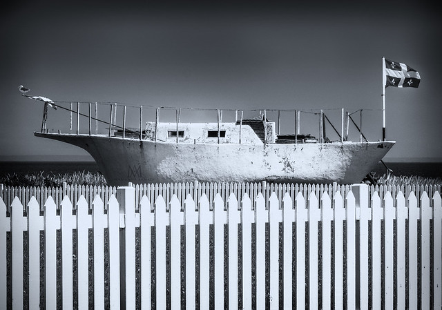 boat on a fence