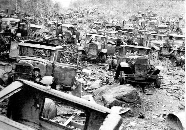 Soviet GAZ AA scrap ''convoy'' *Ford Model AA trucks ''The Retreat of Karelia, Finland''July, 1944