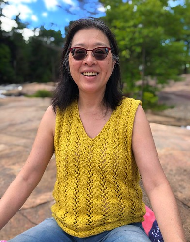 My sister Mary knit this Summertime lace tank by Cheryl Beckerich. Yarn is Rowan Creative Linen in Mustard.
