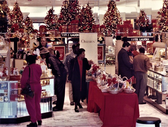 Dillards Department Store with Christmas Shoppers at the Westwood Mall  1993  by J Click