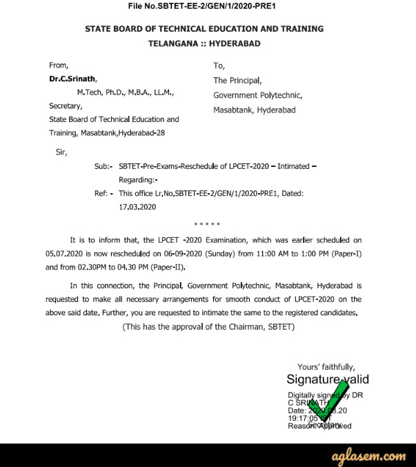 TS LPCET 2020 New Exam Date