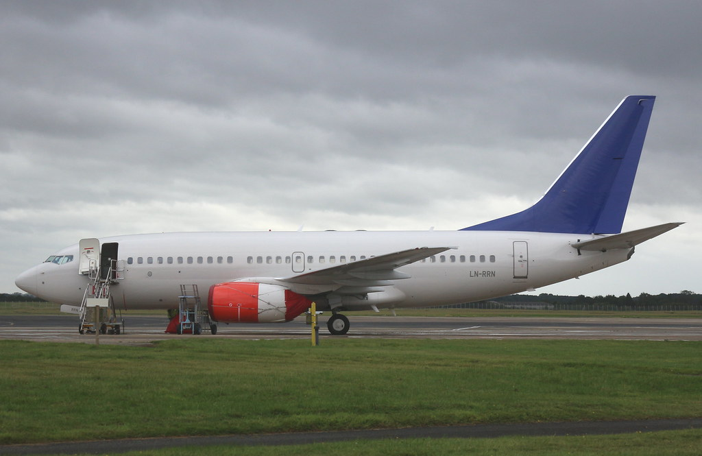 LN-RRN Boeing 737-783 arrival at Teesside International Airport MME England from from Oslo OSL Norway as flight SK9212 UK for Willis Asset Management