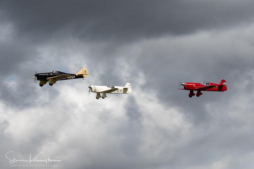 G-ADGP - Miles Hawk Speed Six, G-AEXF - Percival Mew Gull, G-HEKL - Percival Mew Gull (Replica)