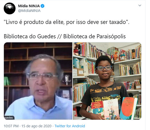 Protestos contra tributação de livros e pela justificativa dada por Paulo Guedes