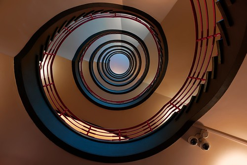 architecture lookingup view staircase design perspective hamburg spiral nopeople light lines colours indoors tourism tamronsp2470divc