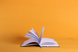 Open book on orange background | by wuestenigel