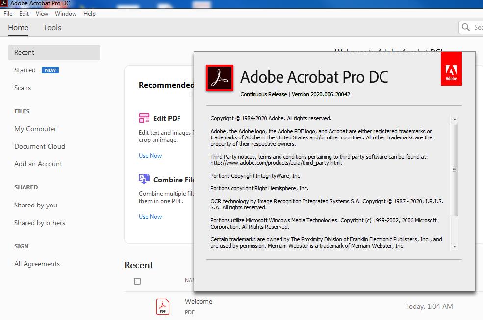 Working with Adobe Acrobat Pro DC v2020.009.20065 full