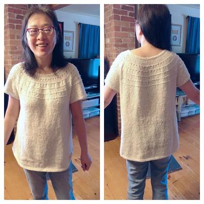 My sister's Derecho by Alison Green knit using Berroco Remix Light looks amazing!
