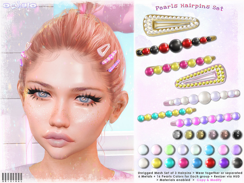 [ bubble ] Pearls Hairpins Set