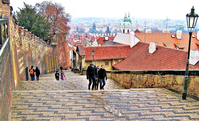 Stairs down from Prague Castle