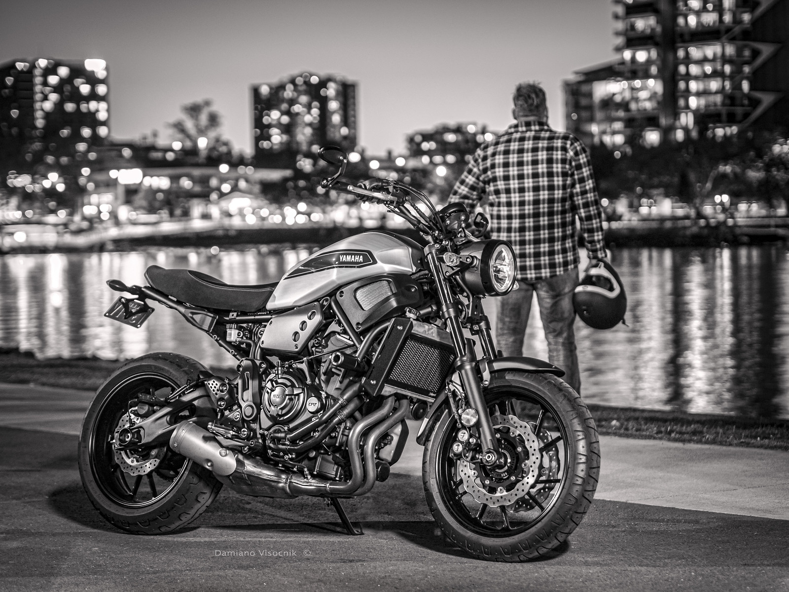 bike and rider_bw
