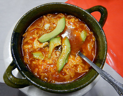 Sopa Azteca topped with avocado at Vitamina T in Puerto Escondido, Mexico