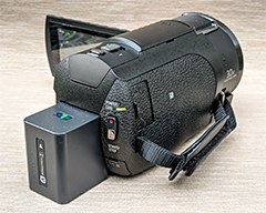 Rear view of the Sony FDR-AX43 4K HD Handycam Camcorder.