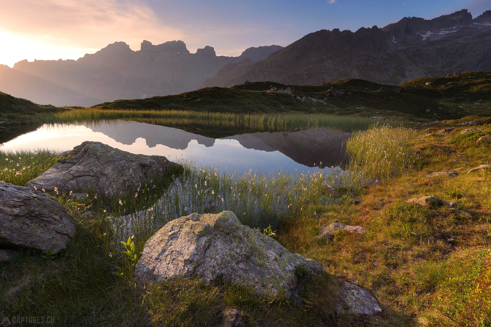 Sunlight at the tarn - Sustenpass