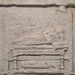 Roman relief with funeral procession from Amiternum: detail of deceased
