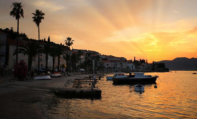 God rays on the island of Korčula