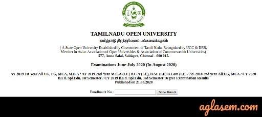 TNOU June-July 2020 Exam Result